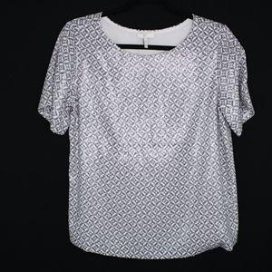 Joie Reya 100% Silk Sequin Shiny Short Sleeve Top